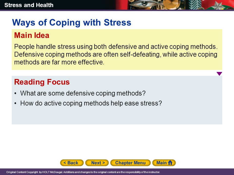 Ways of Coping with Stress