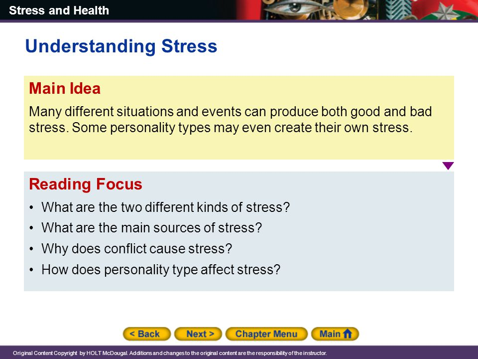 Understanding Stress Main Idea Reading Focus
