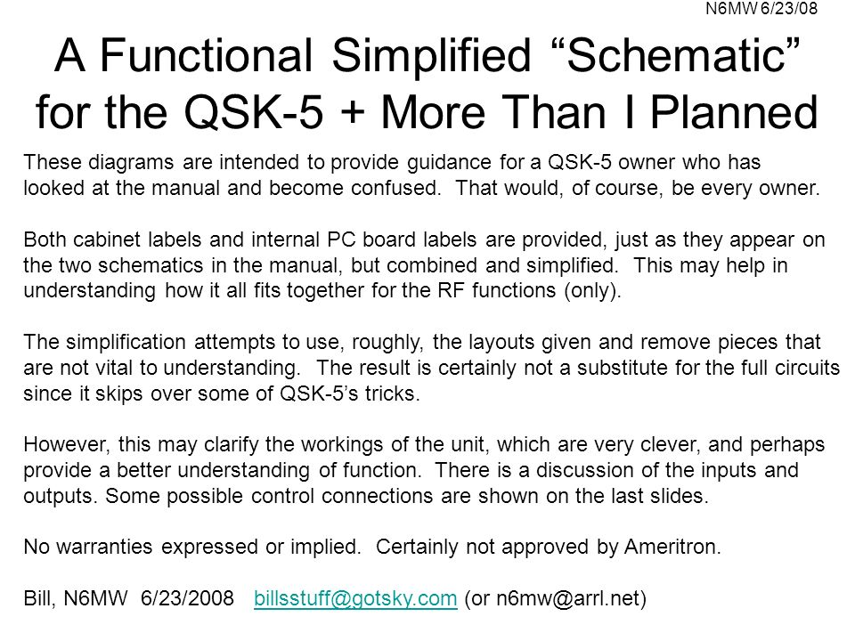 A Functional Simplified Schematic for the QSK-5 + More Than I Planned