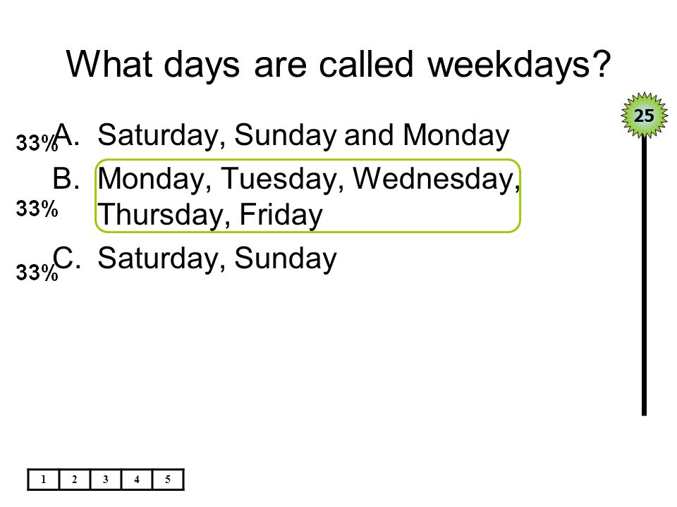 What days are called weekdays