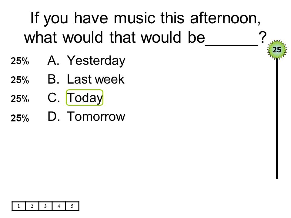 If you have music this afternoon, what would that would be______
