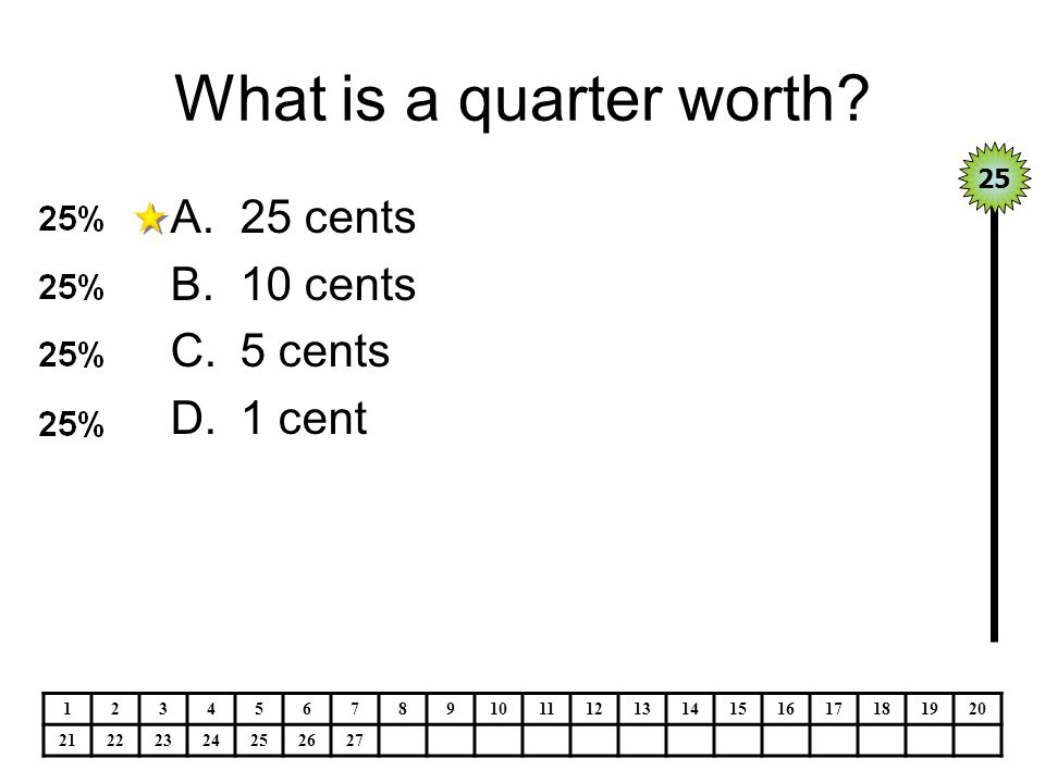 What is a quarter worth 25 cents 10 cents 5 cents 1 cent 25 1 2 3 4 5