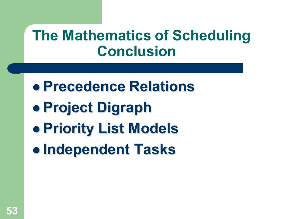 The Mathematics of Scheduling Conclusion