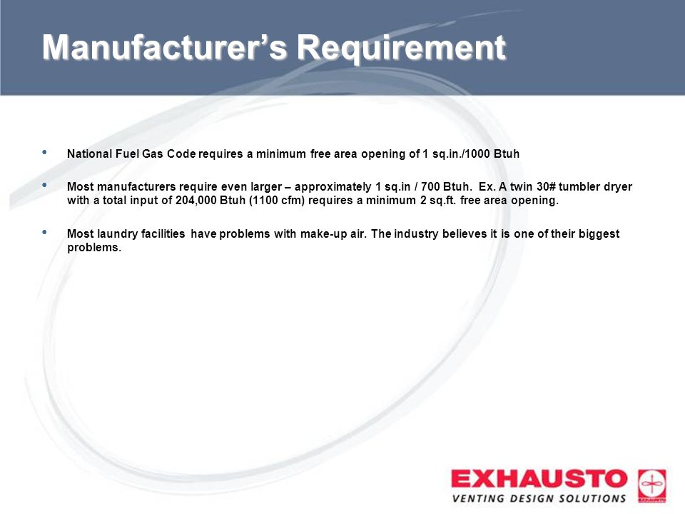 Manufacturer's Requirement