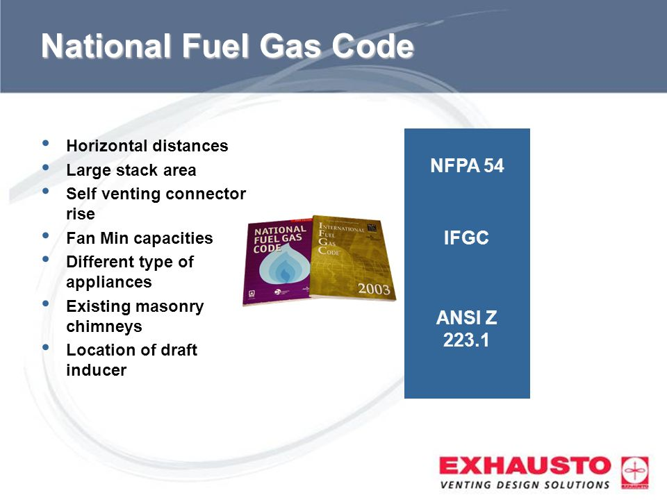 National Fuel Gas Code NFPA 54 IFGC ANSI Z Horizontal distances