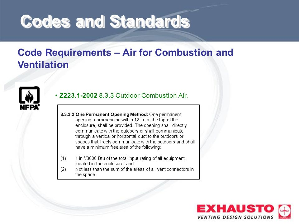 Codes and Standards Code Requirements – Air for Combustion and Ventilation. Z Outdoor Combustion Air.