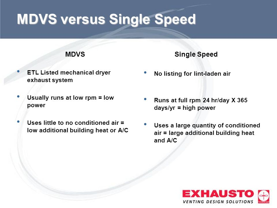MDVS versus Single Speed