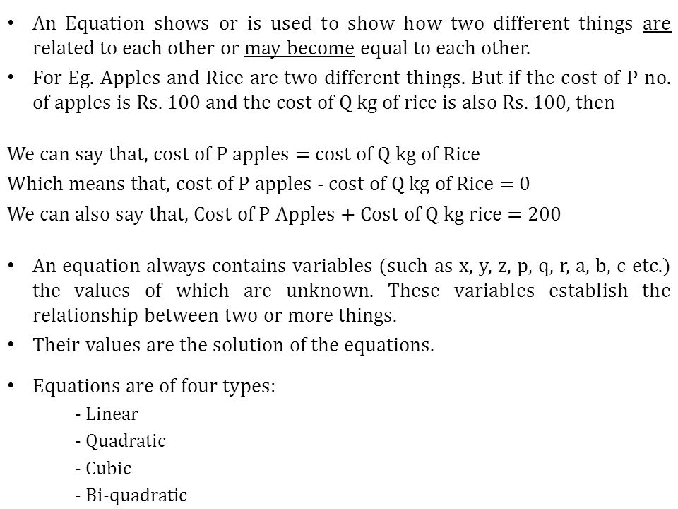 We can say that, cost of P apples = cost of Q kg of Rice