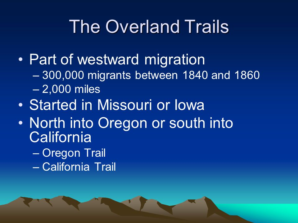 The Overland Trails Part of westward migration