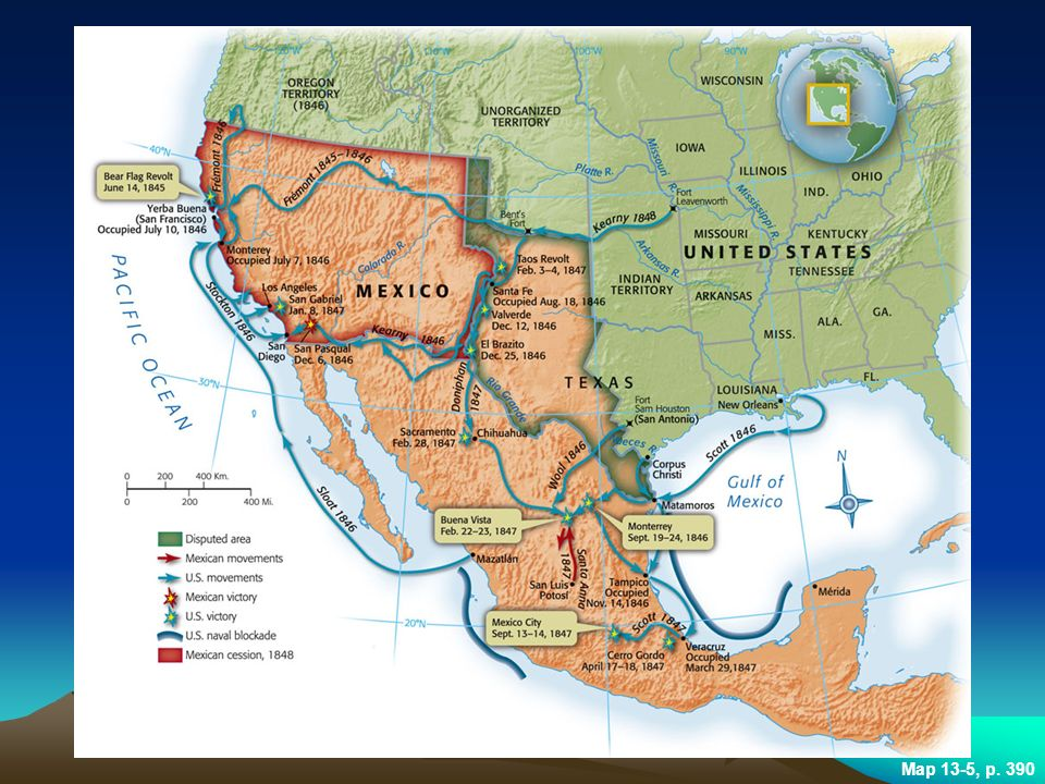 MAP 13.5 MAJOR BATTLES OF THE MEXICAN-AMERICAN WAR The Mexican War's decisive campaign began with General Winfield Scott's capture of Vera Cruz and ended with his conquest of Mexico City.