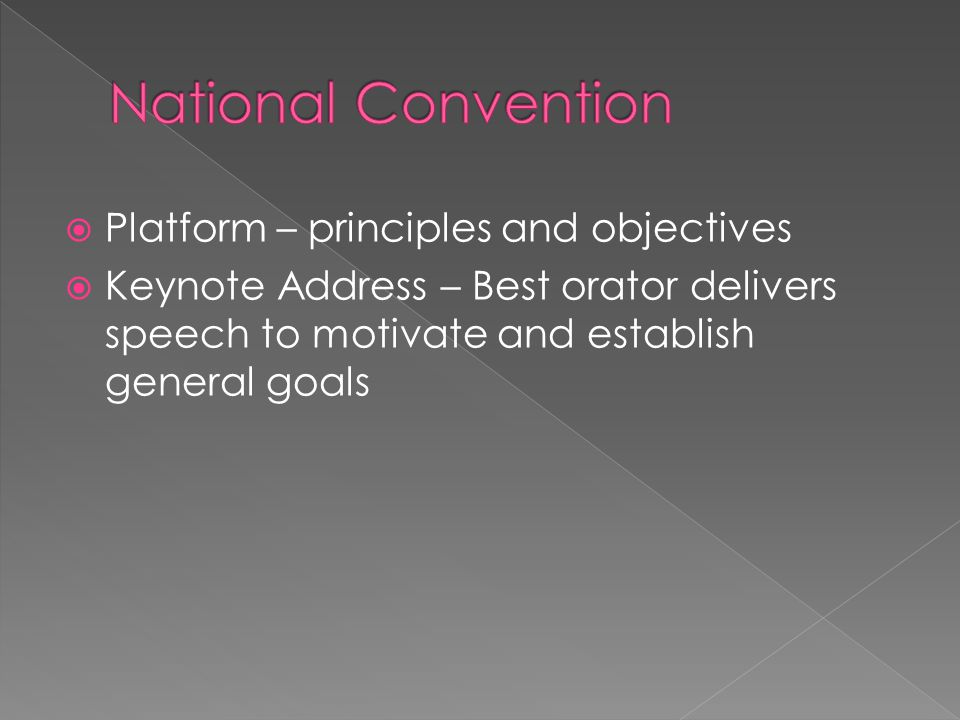 National Convention Platform – principles and objectives