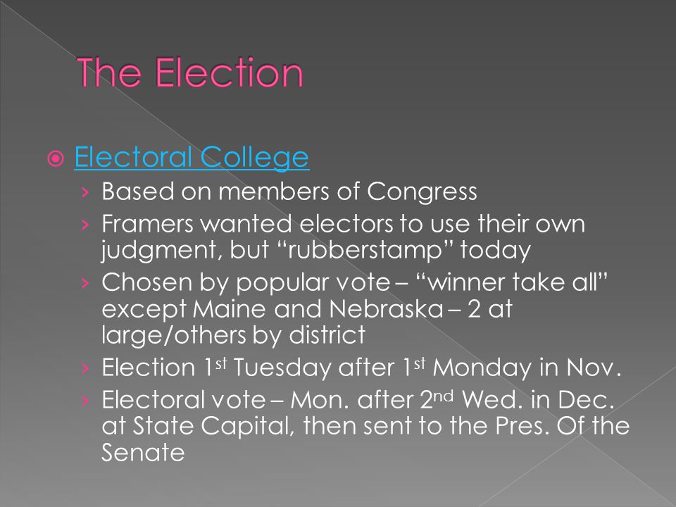 The Election Electoral College Based on members of Congress