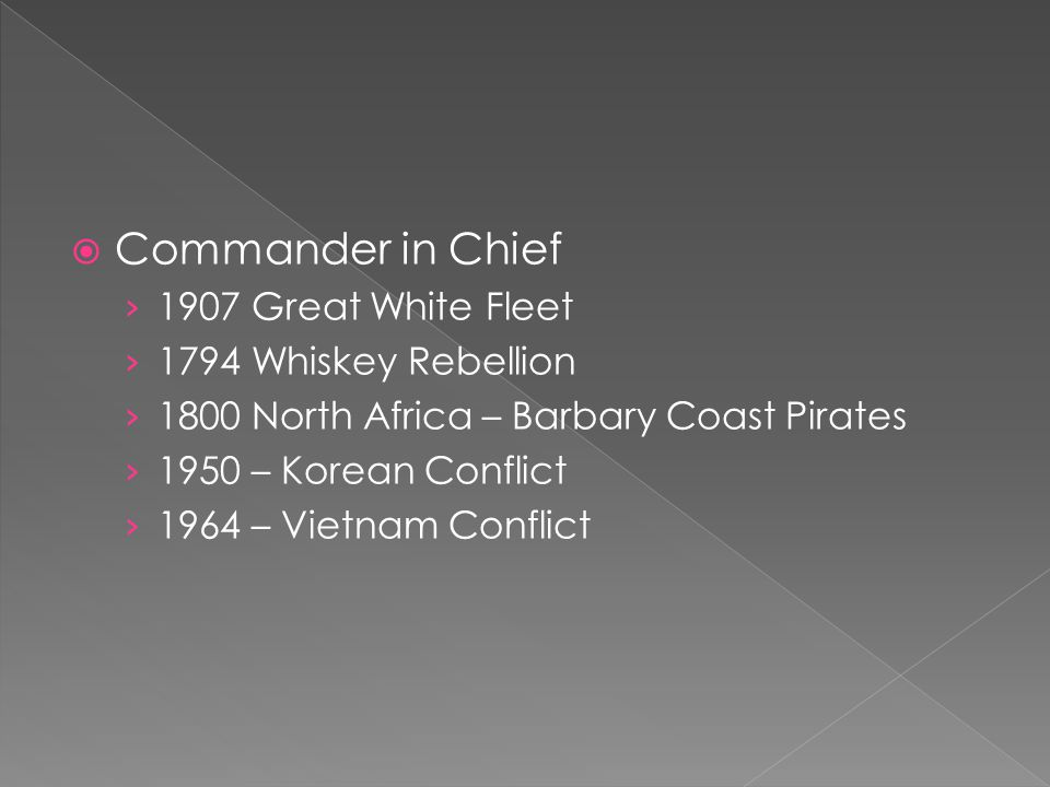 Commander in Chief 1907 Great White Fleet 1794 Whiskey Rebellion
