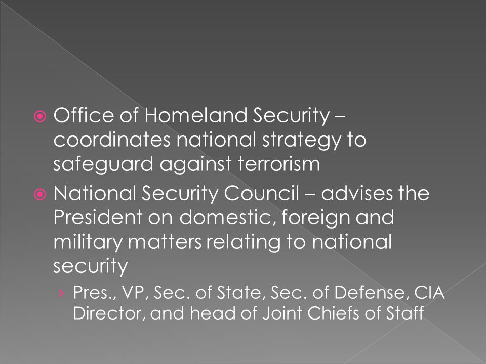 Office of Homeland Security – coordinates national strategy to safeguard against terrorism