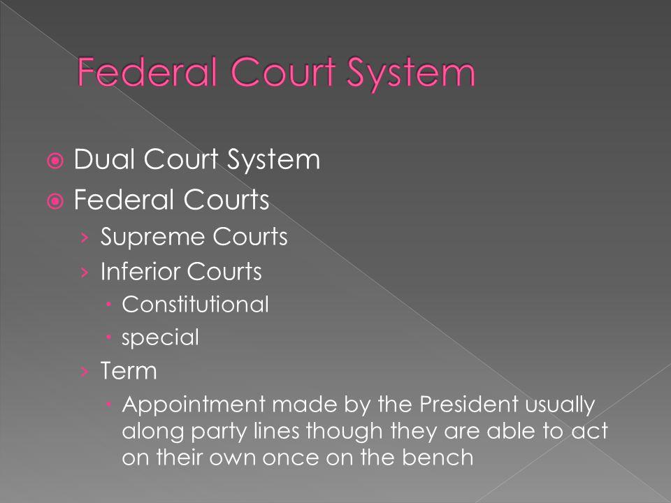 Federal Court System Dual Court System Federal Courts Supreme Courts