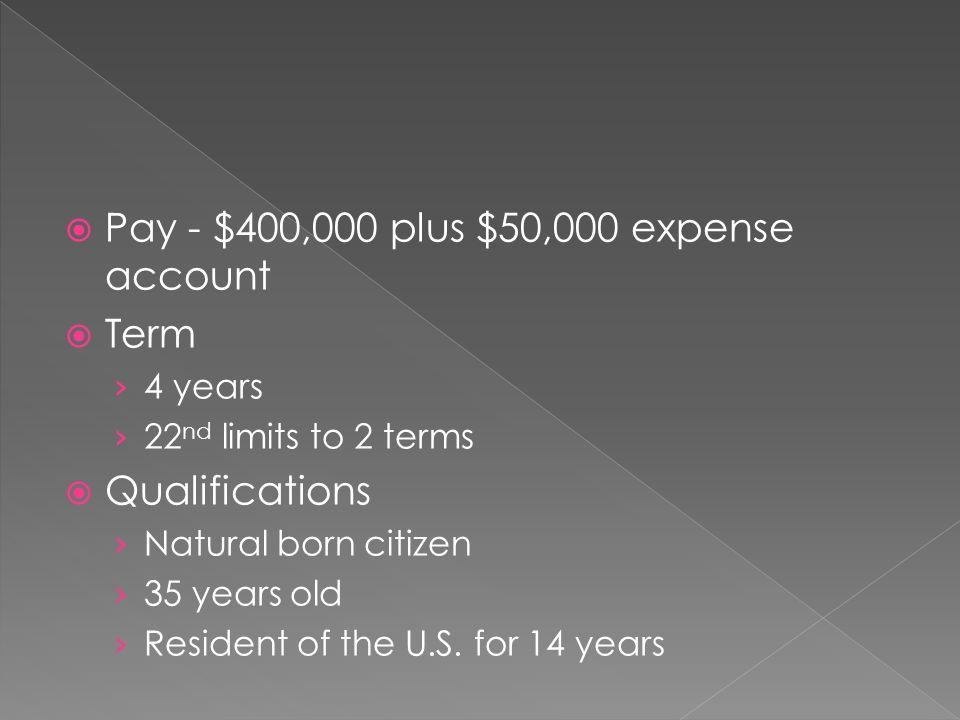 Pay - $400,000 plus $50,000 expense account Term