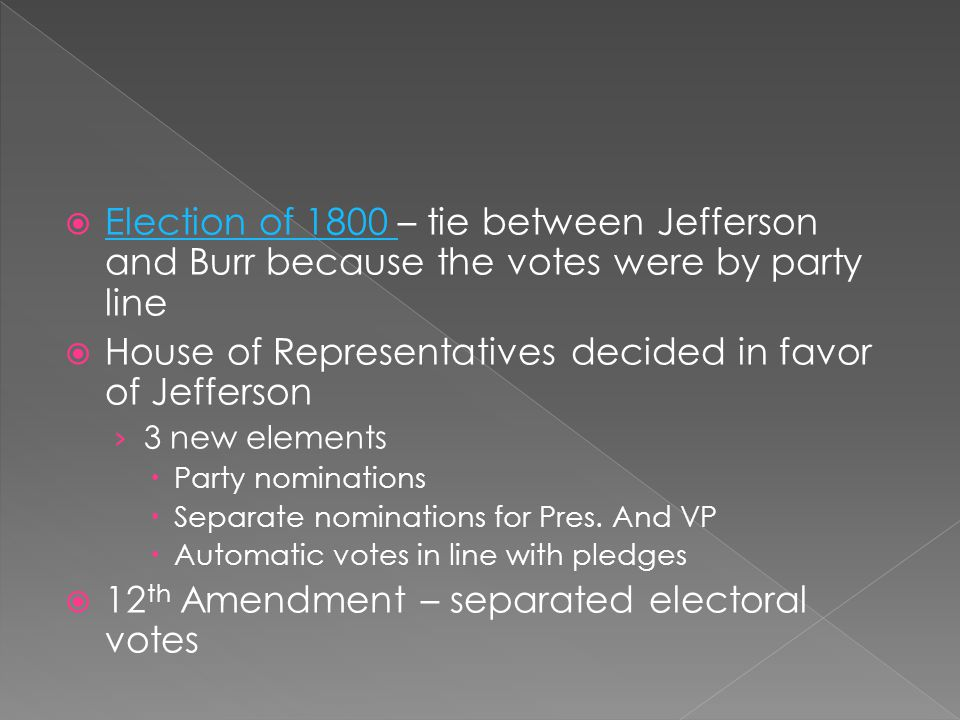 House of Representatives decided in favor of Jefferson