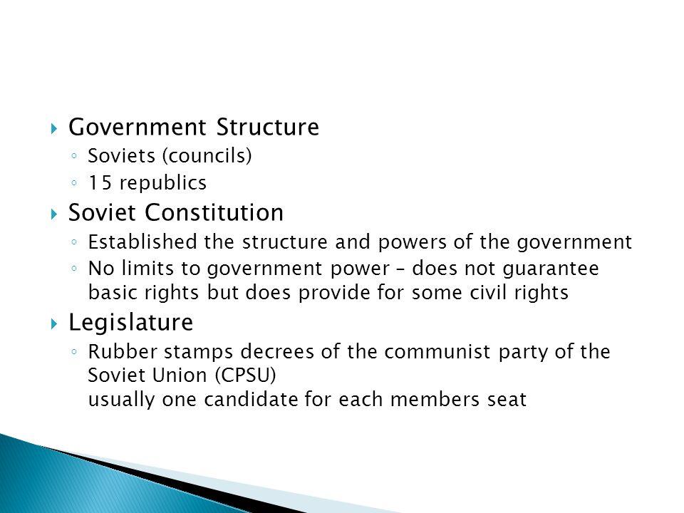 Government Structure Soviet Constitution Legislature