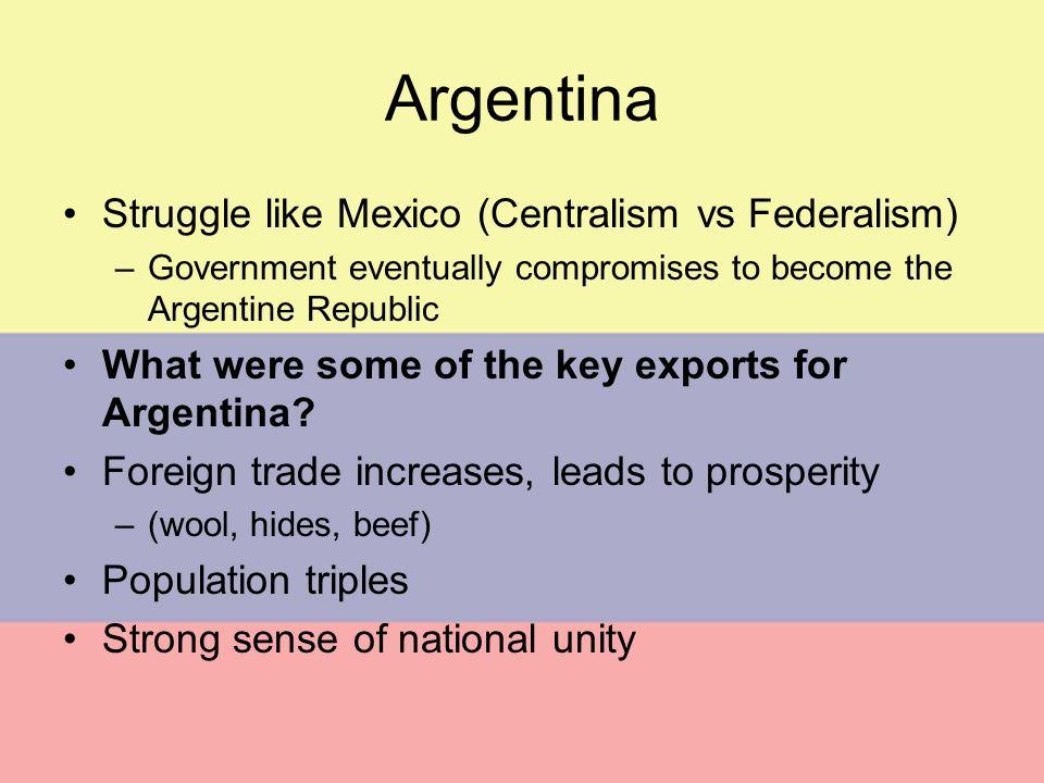 Argentina Struggle like Mexico (Centralism vs Federalism)
