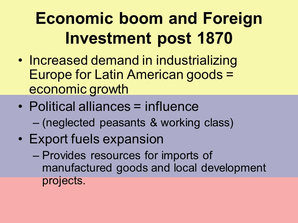 Economic boom and Foreign Investment post 1870