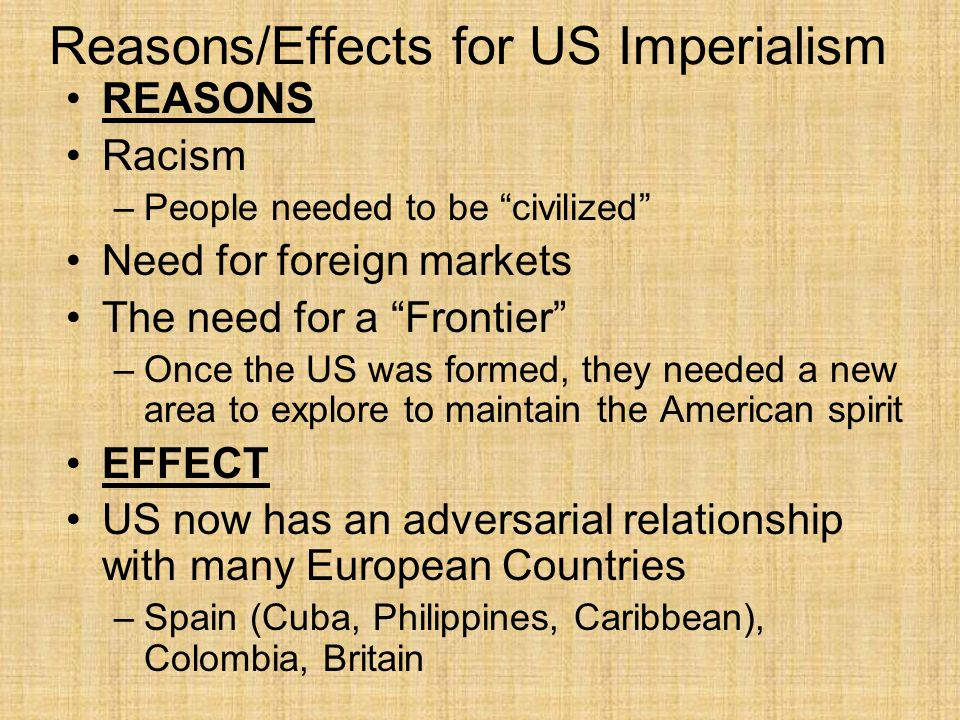 Reasons/Effects for US Imperialism
