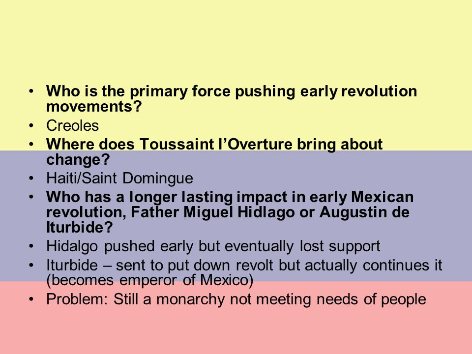 Who is the primary force pushing early revolution movements