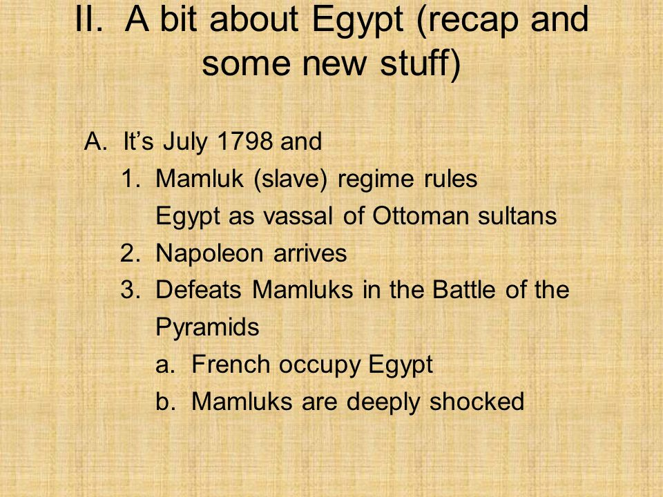 II. A bit about Egypt (recap and some new stuff)