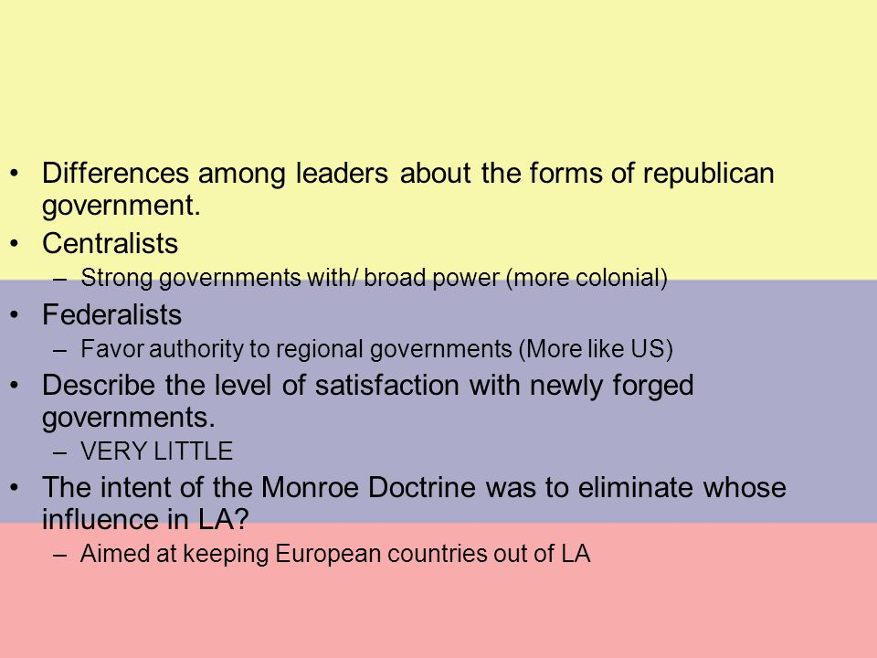 Centralists vs Federalists
