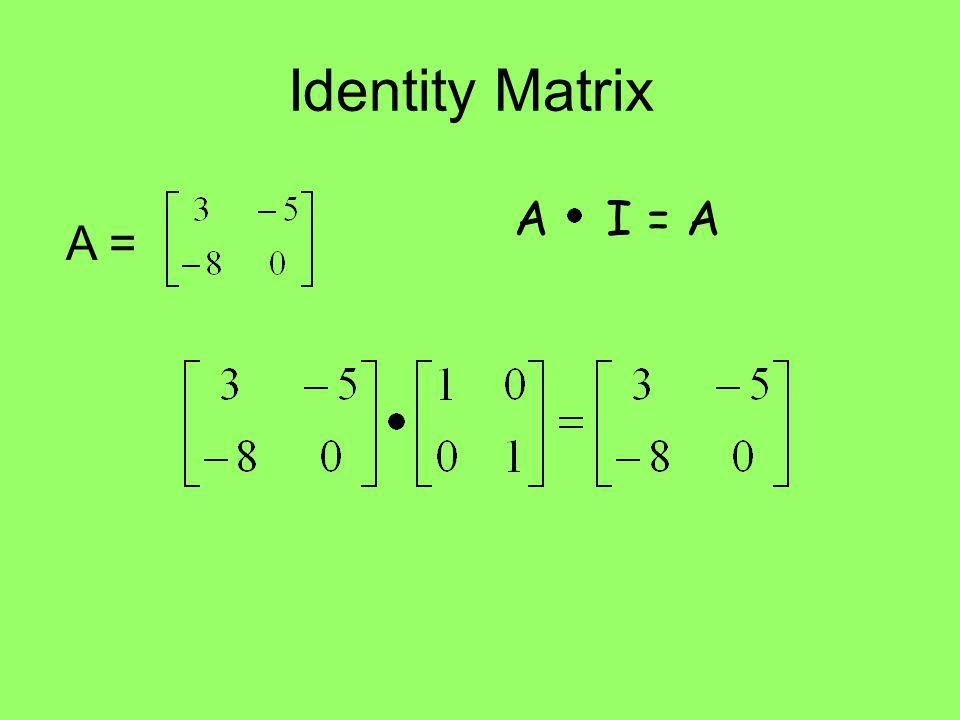 Identity Matrix A I = A A =