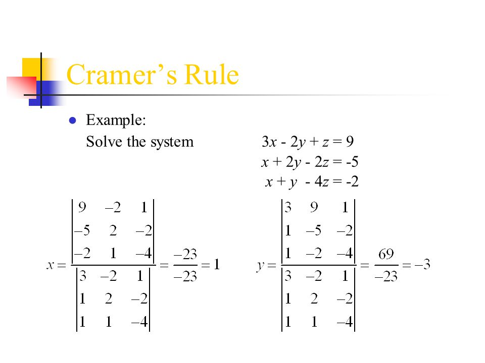 Cramer's Rule Example: Solve the system 3x - 2y + z = 9 x + 2y - 2z = -5 x + y - 4z = -2