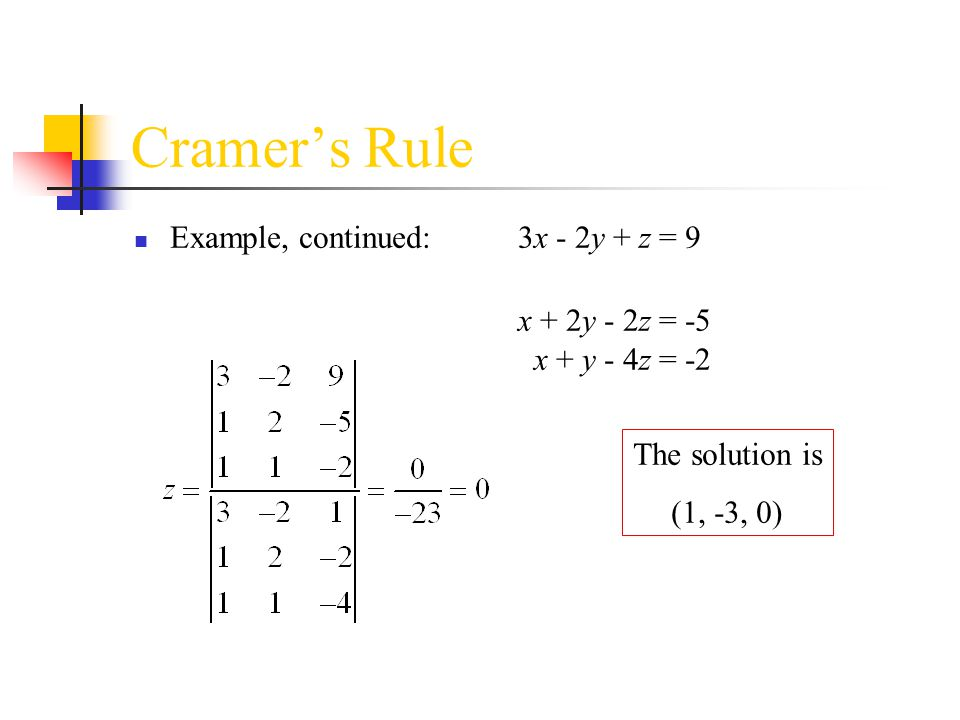 Cramer's Rule Example, continued: 3x - 2y + z = 9 x + 2y - 2z = -5 x + y - 4z = -2. The solution is.