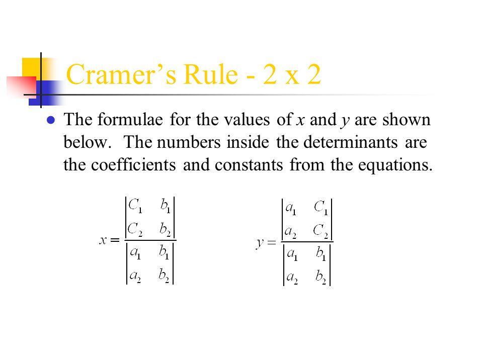 Cramer's Rule - 2 x 2