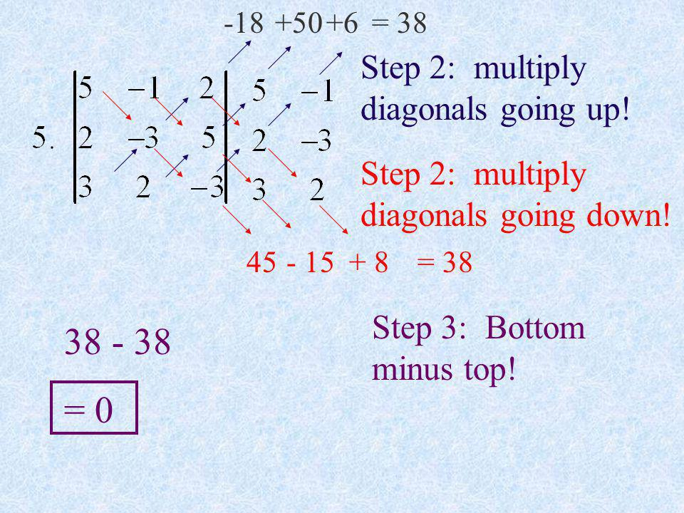 38 - 38 = 0 Step 2: multiply diagonals going up!