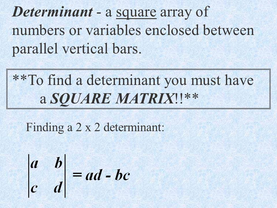 **To find a determinant you must have a SQUARE MATRIX!!**