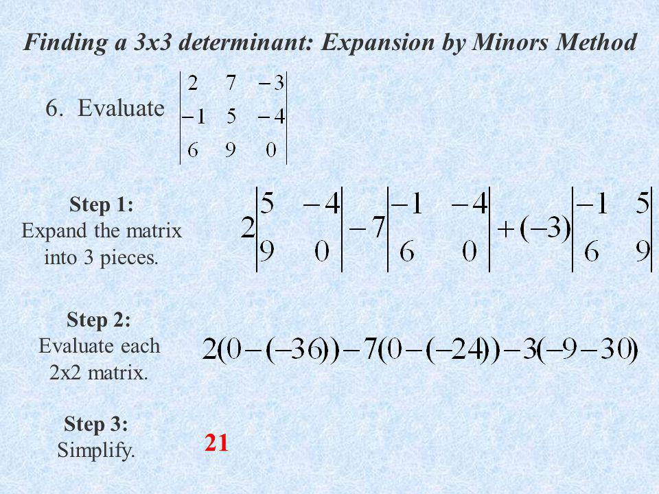 Finding a 3x3 determinant: Expansion by Minors Method