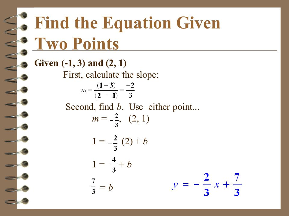 Find the Equation Given Two Points
