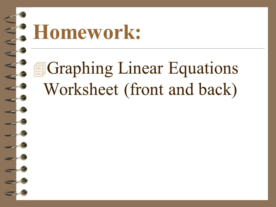 Homework: Graphing Linear Equations Worksheet (front and back)