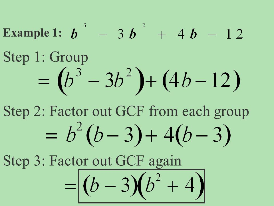 Step 2: Factor out GCF from each group