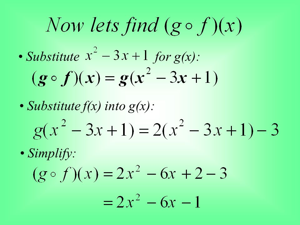 • Substitute for g(x): • Substitute f(x) into g(x): • Simplify: