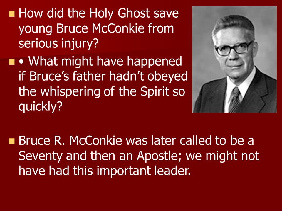 How did the Holy Ghost save young Bruce McConkie from serious injury