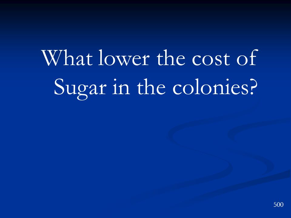 What lower the cost of Sugar in the colonies