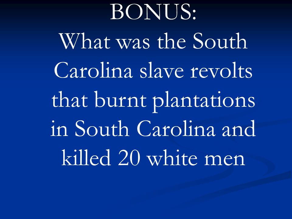BONUS: What was the South Carolina slave revolts that burnt plantations in South Carolina and killed 20 white men.