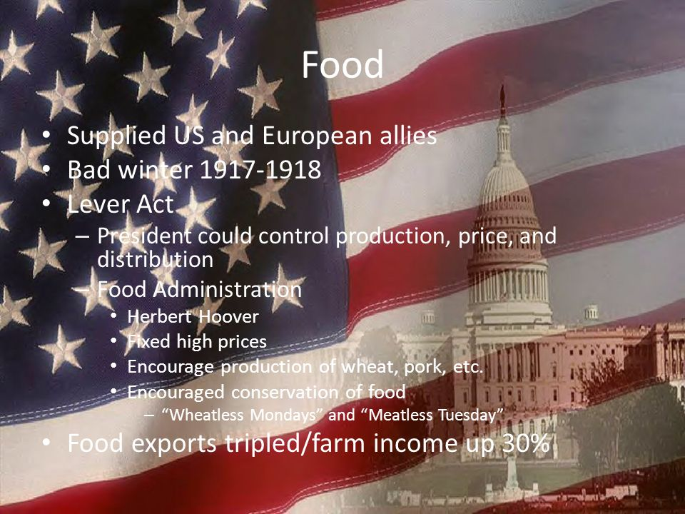 Food Supplied US and European allies Bad winter 1917-1918 Lever Act