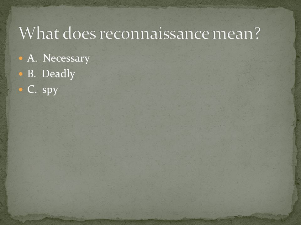 What does reconnaissance mean