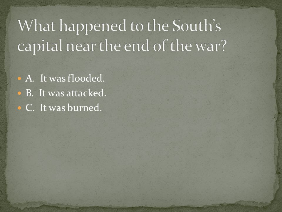 What happened to the South's capital near the end of the war
