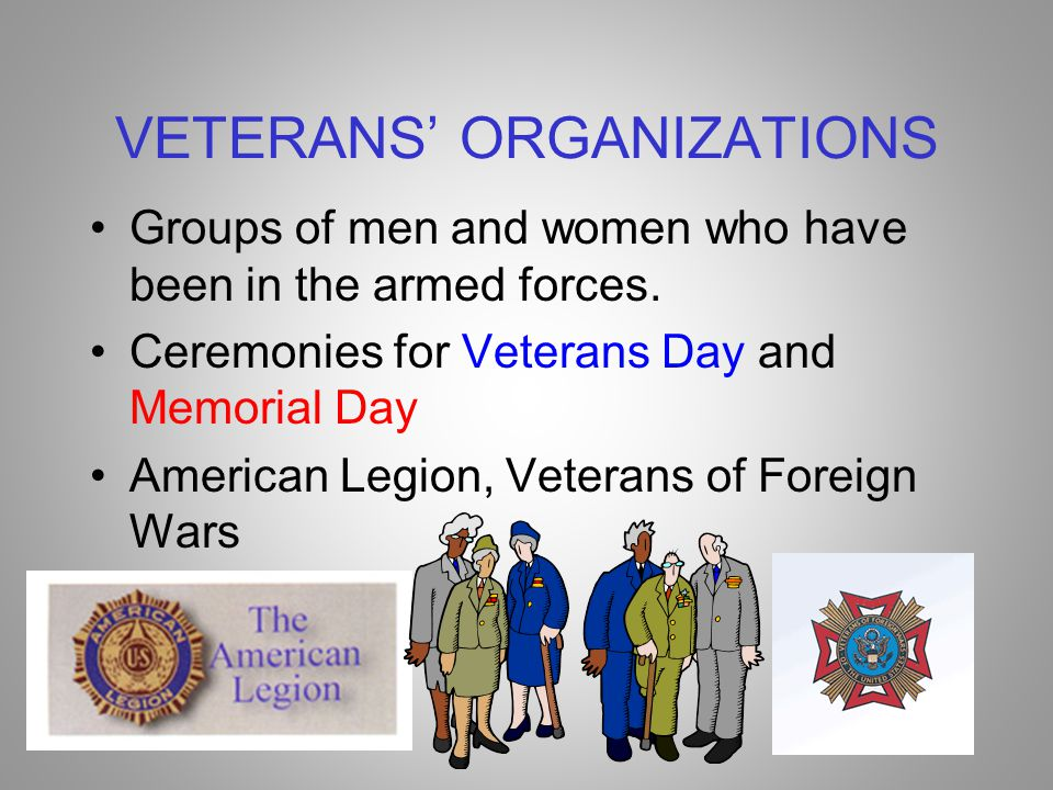 VETERANS' ORGANIZATIONS