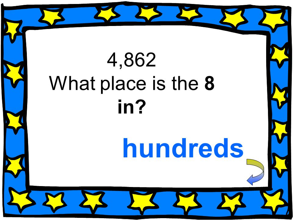 4,862 What place is the 8 in hundreds