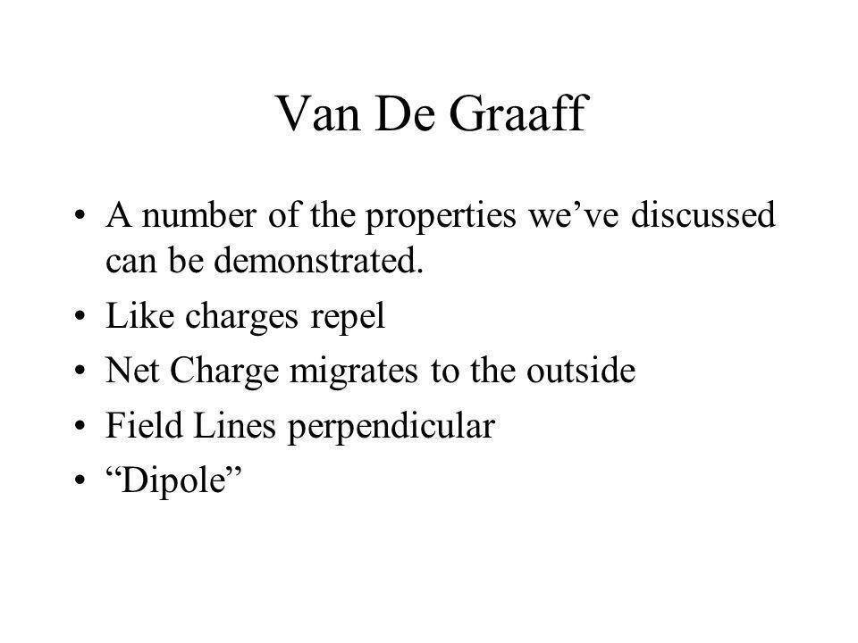 Van De Graaff A number of the properties we've discussed can be demonstrated. Like charges repel. Net Charge migrates to the outside.