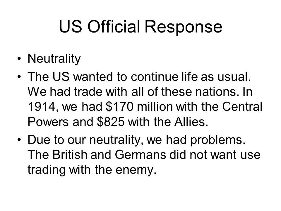 US Official Response Neutrality