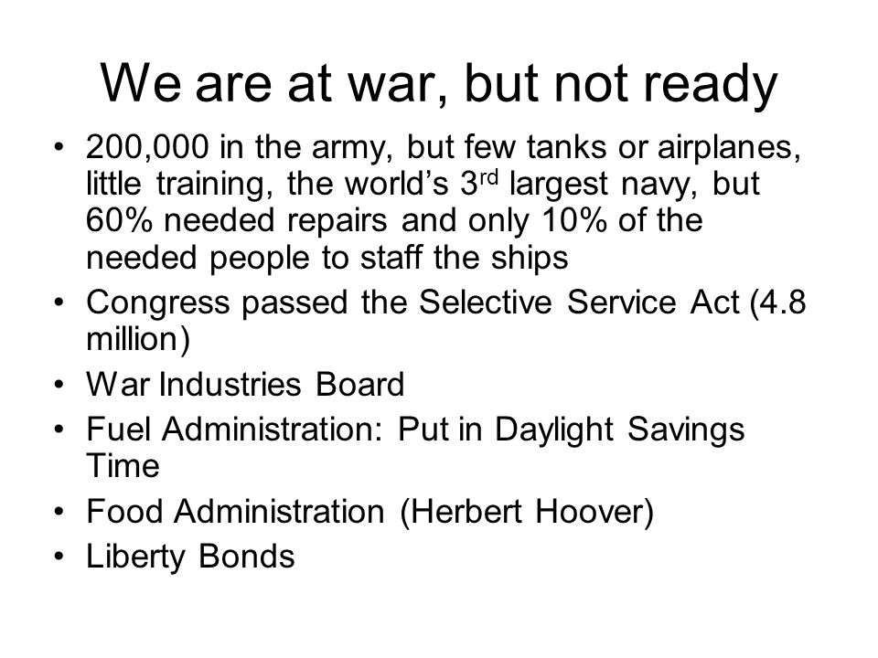 We are at war, but not ready